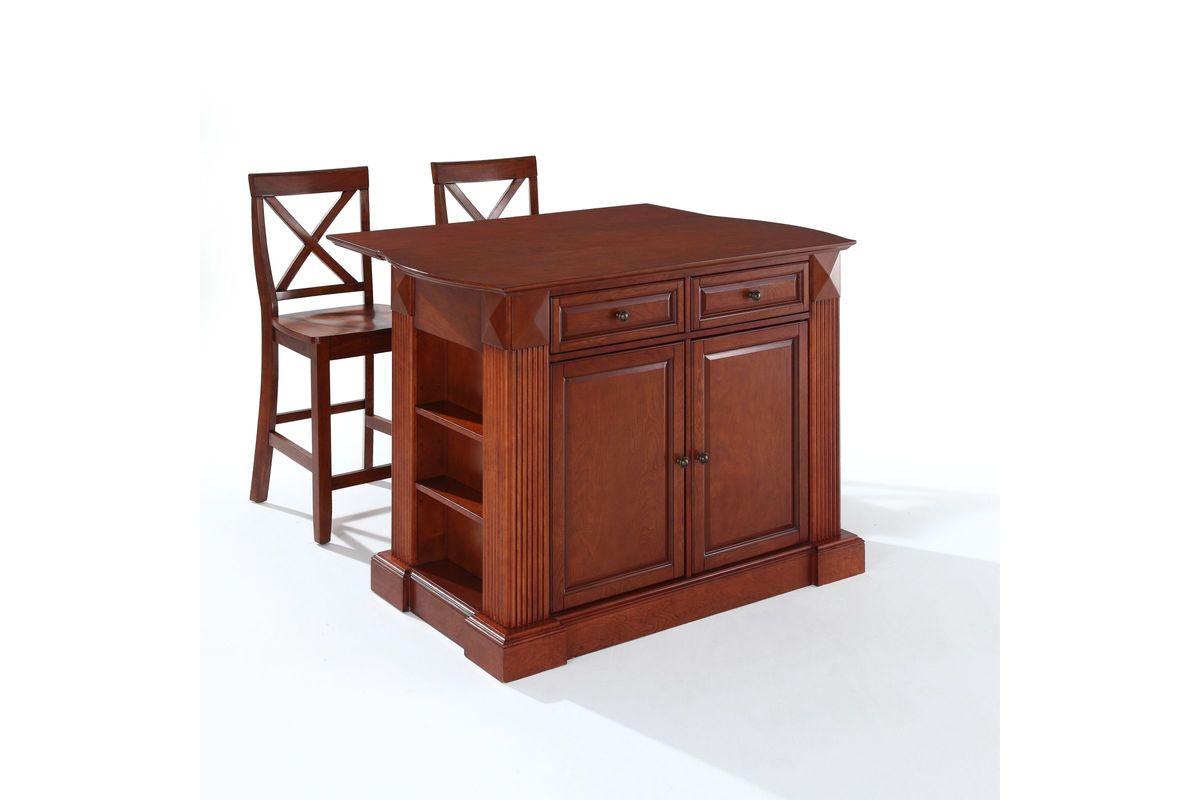 Coventry Drop Leaf Breakfast Bar Top Kitchen Island In Cherry Two