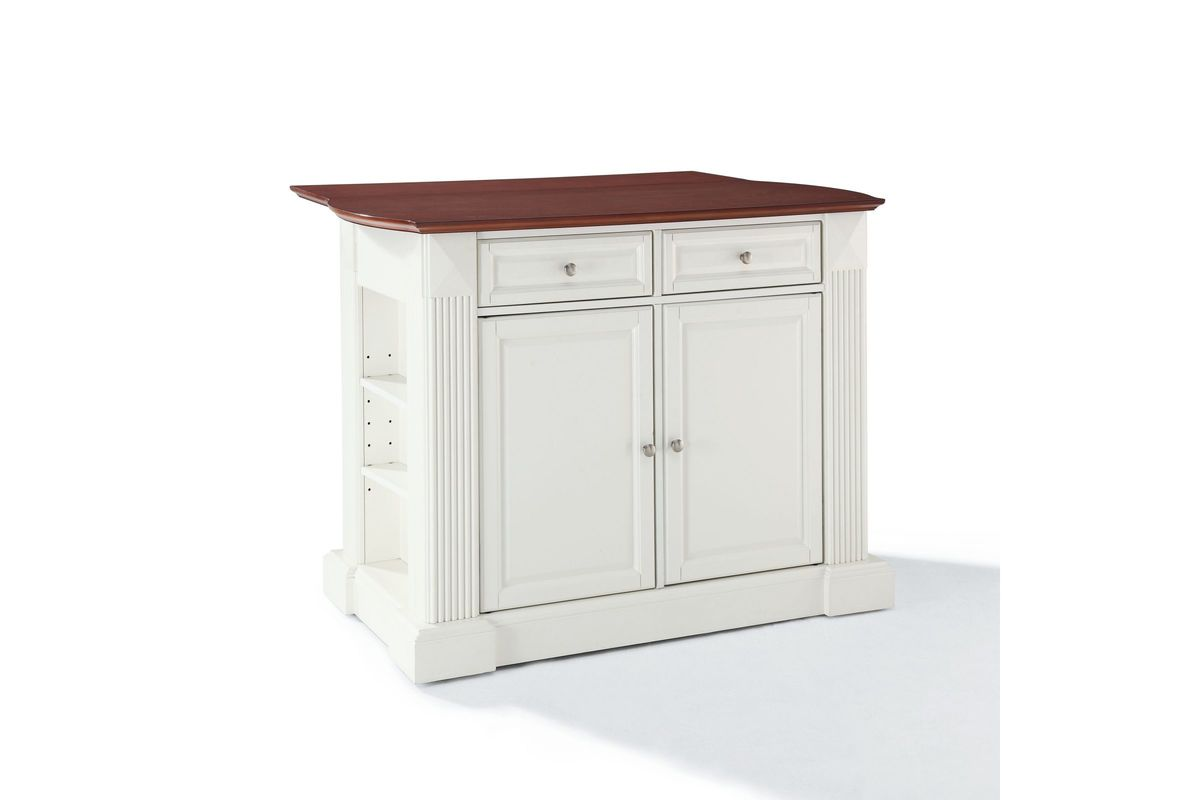 Coventry Drop Leaf Breakfast Bar Top Kitchen Island In White Finish By Crosley