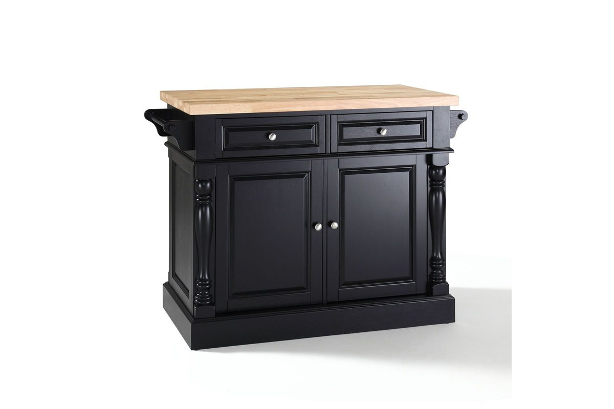 Crosley Furniture Butcher Block Top Kitchen Island In Black Finish