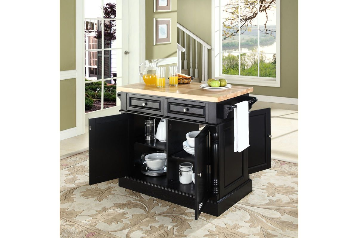 black kitchen island with butcher block top oxford butcher block top kitchen island in black by crosley 27673