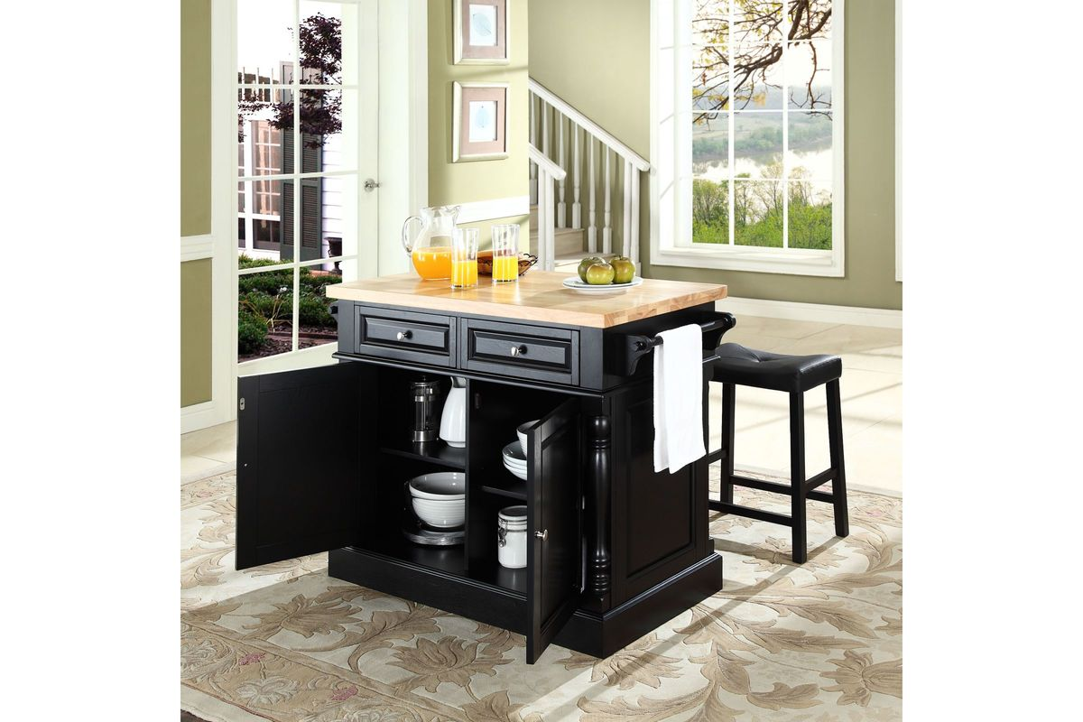 Oxford Butcher Block Top Kitchen Island in Black with Two 24