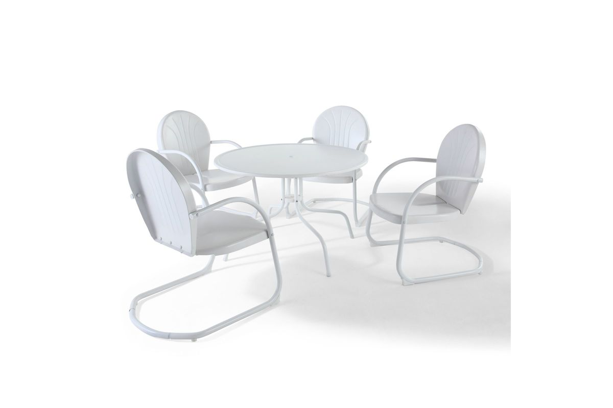 Griffith metal 5 piece dining set in white by crosley from gardner white furniture
