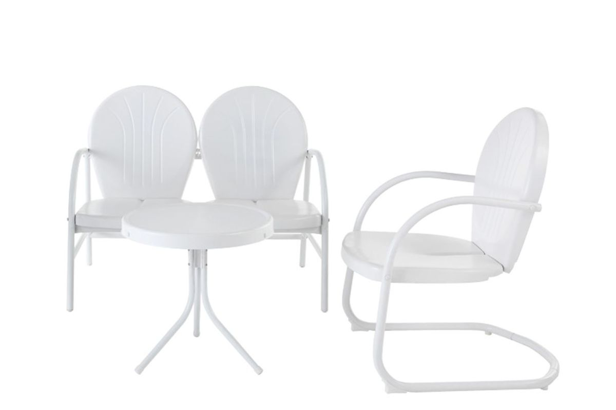 Griffith 3 Person Metal Outdoor Conversation Seating Set in White by Crosley from Gardner-White Furniture