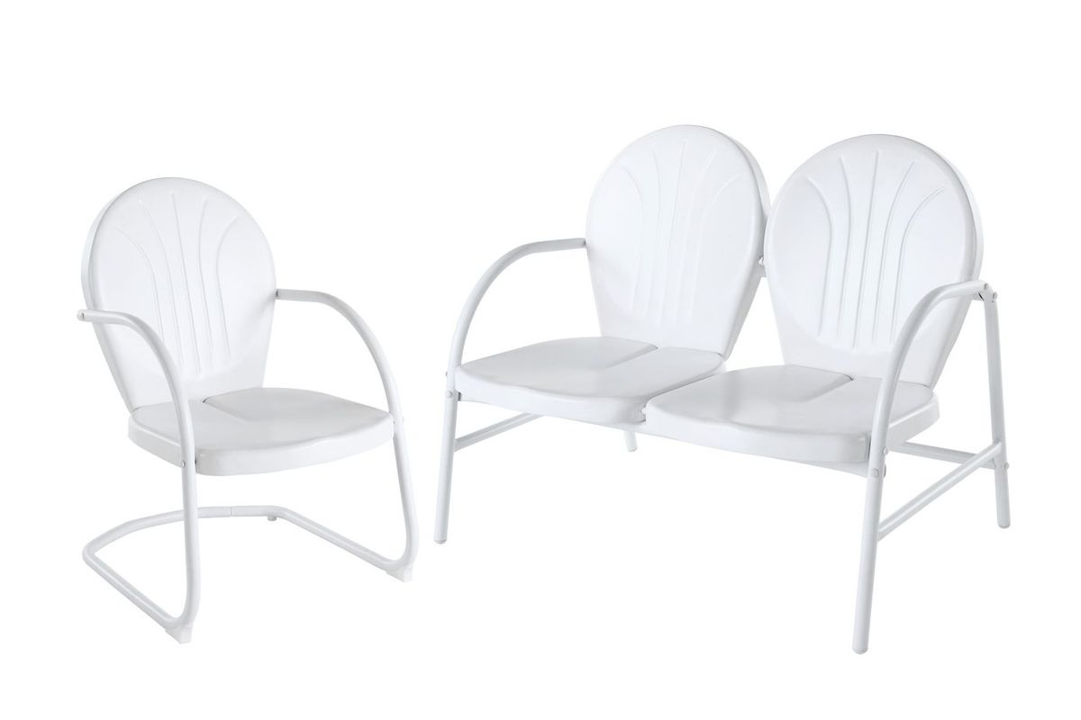 Griffith 2 Piece Metal Outdoor Conversation Seating Set in White by Crosley from Gardner-White Furniture
