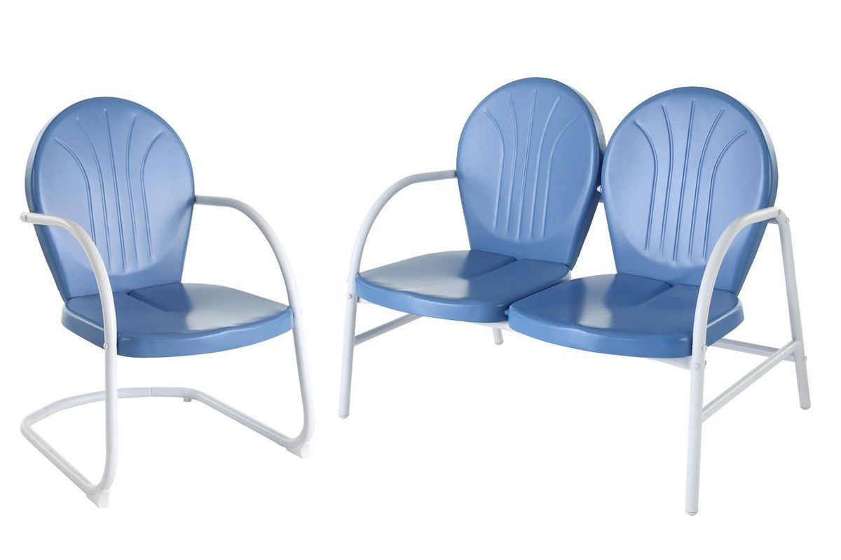 Griffith 2 Piece Metal Outdoor Conversation Seating Set in Blue by Crosley from Gardner-White Furniture