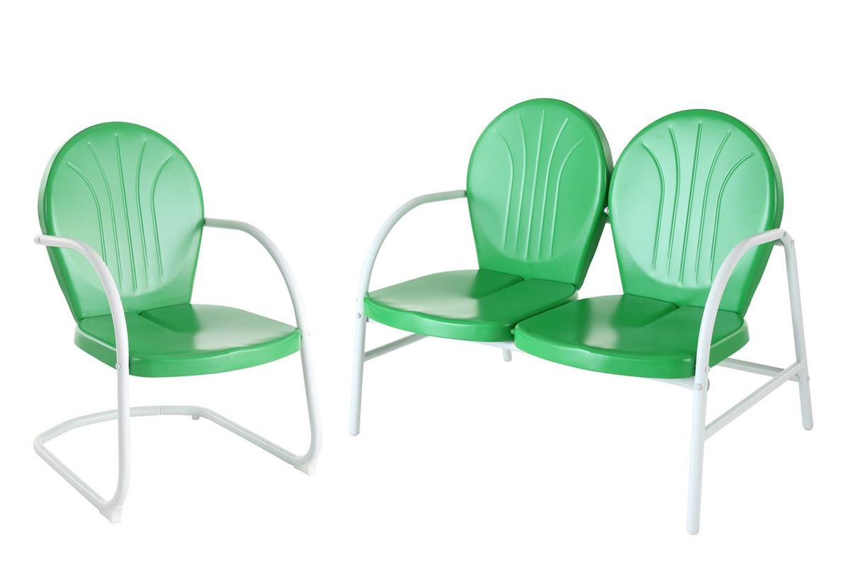 Griffith 3 Person Metal Outdoor Conversation Seating Set in Grasshopper Green by Crosley from Gardner-White Furniture