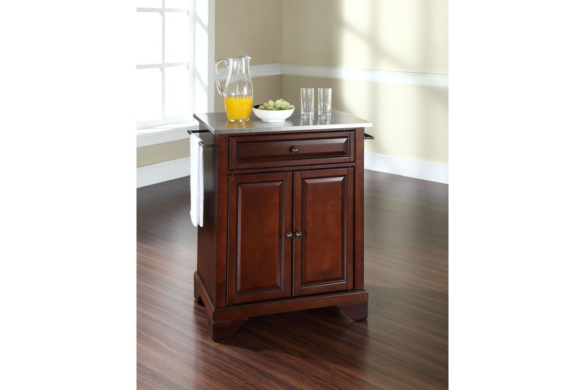 crosley steel kitchen cabinets lafayette stainless steel top portable kitchen island in 6304