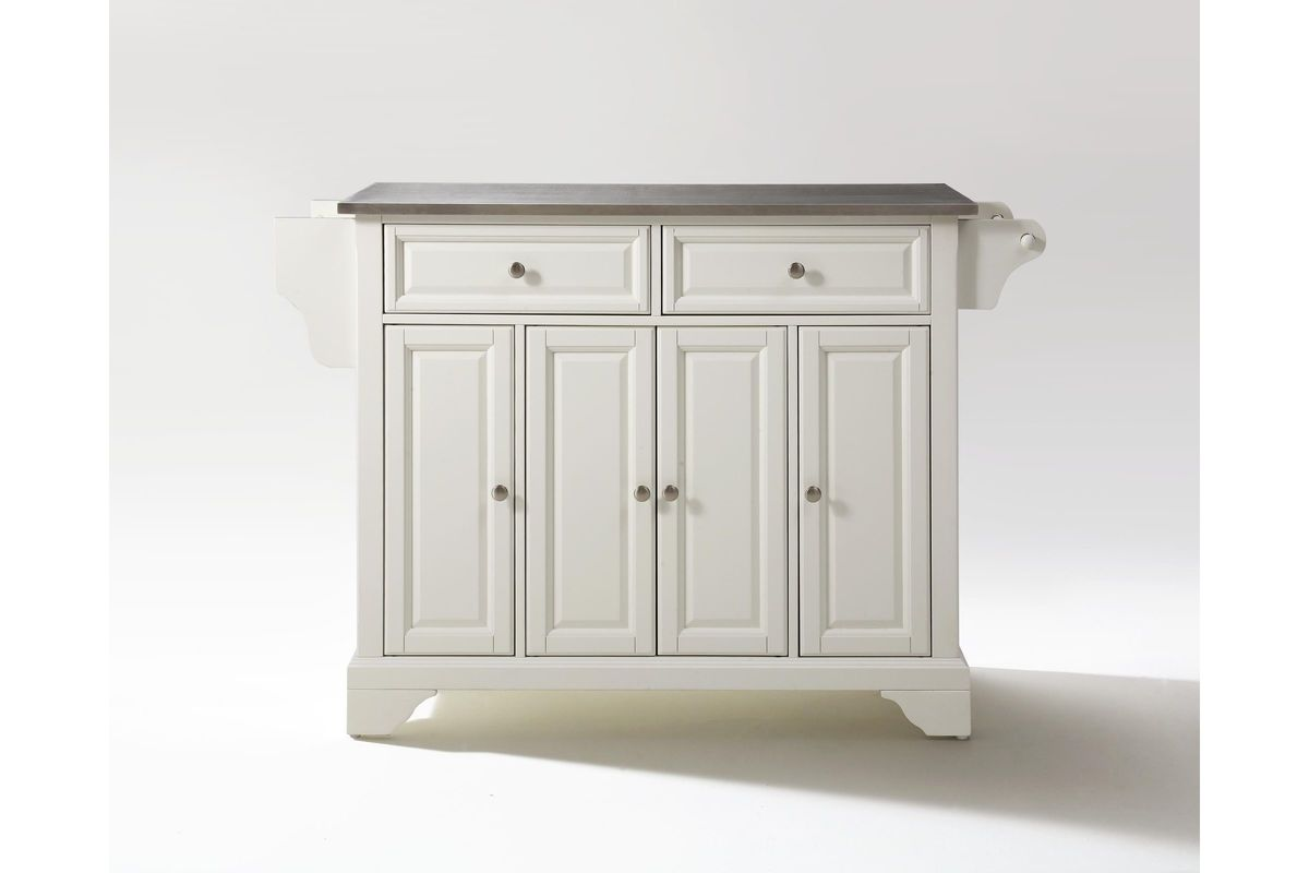 Lafayette Stainless Steel Top Kitchen Island In White Finish