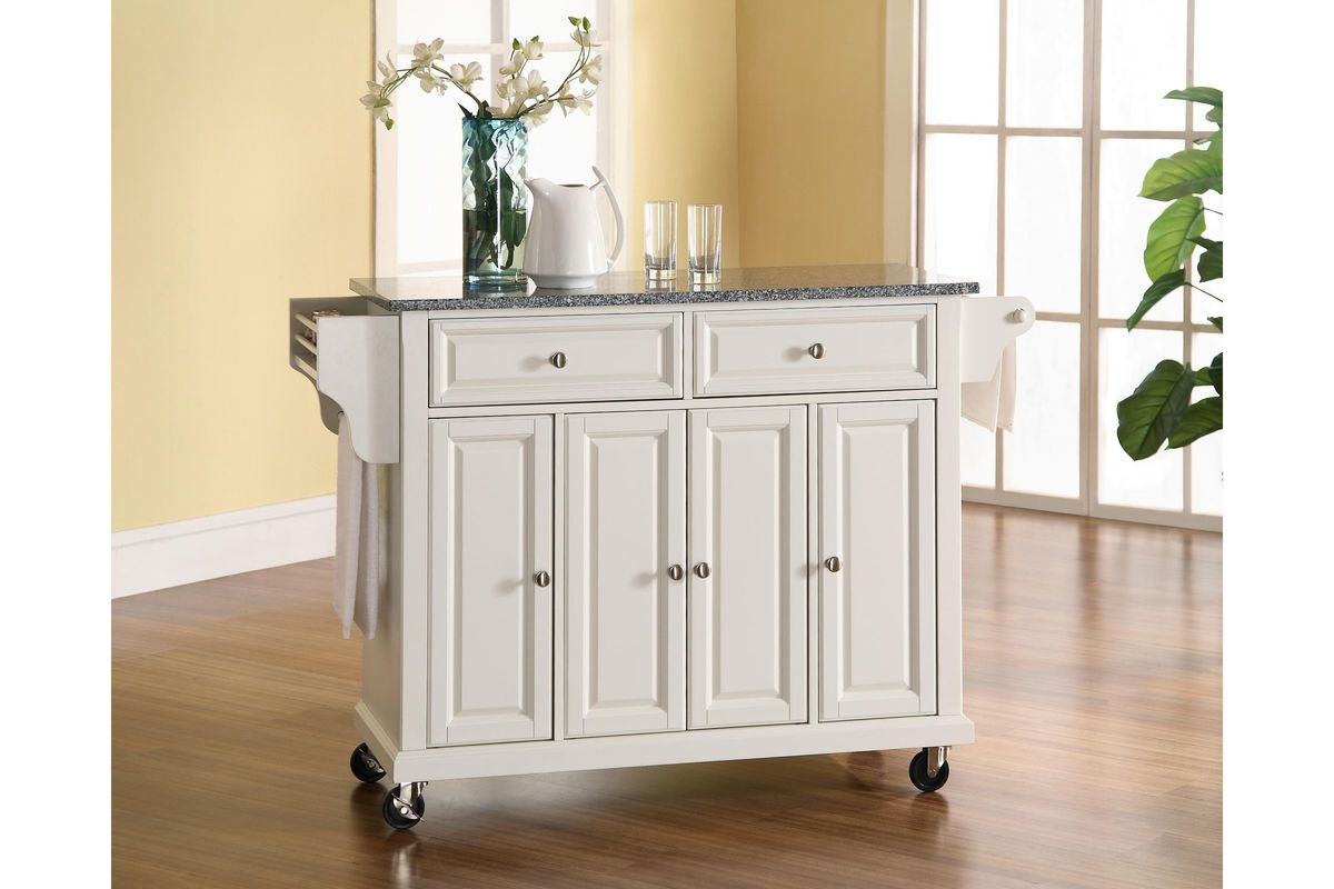 Solid Granite Top Kitchen Cart Island In White Finish By Crosley
