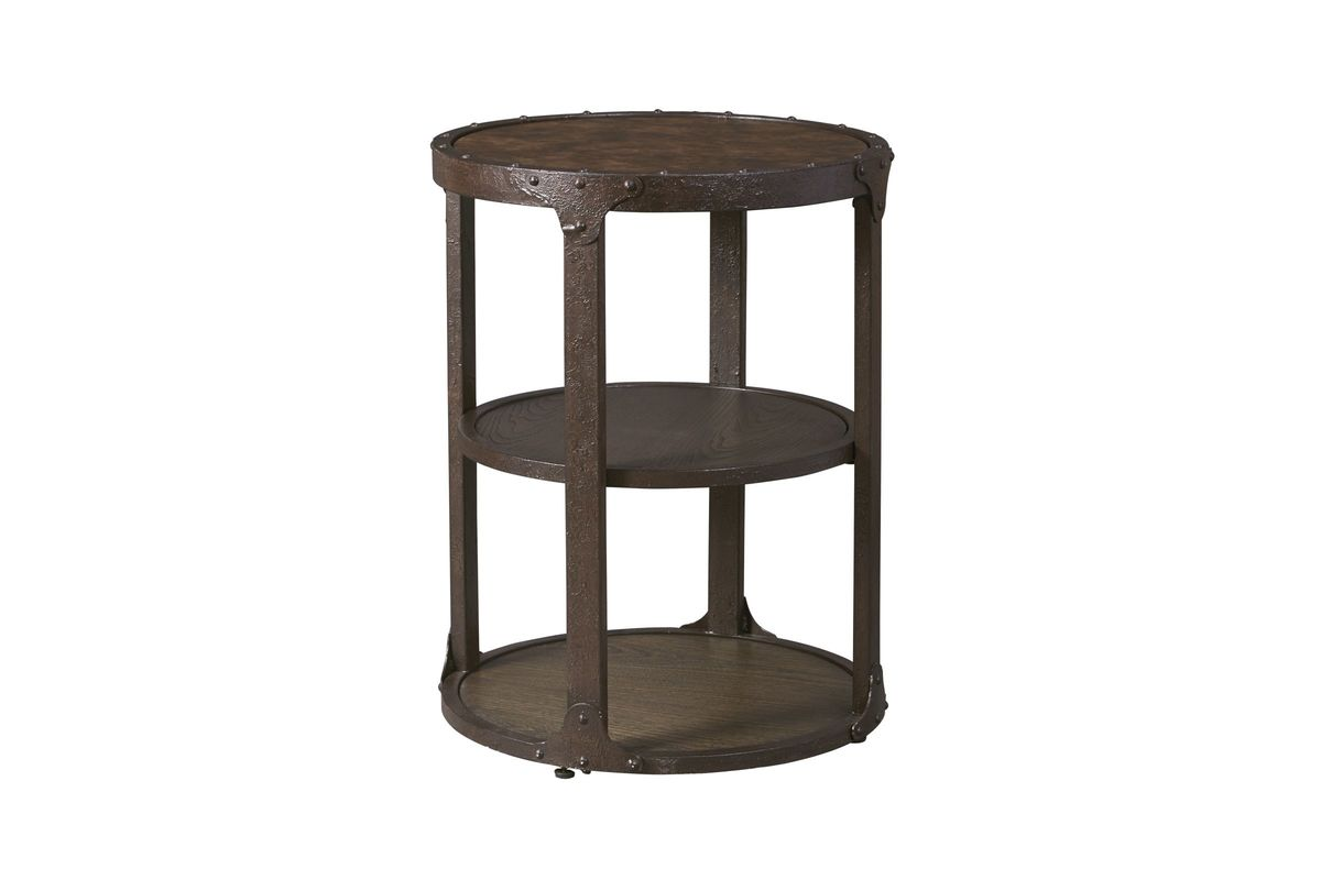 Small Round Rustic Side Tables: Shofern Round End Table In Rustic Brown By Ashley*FDROP-170629