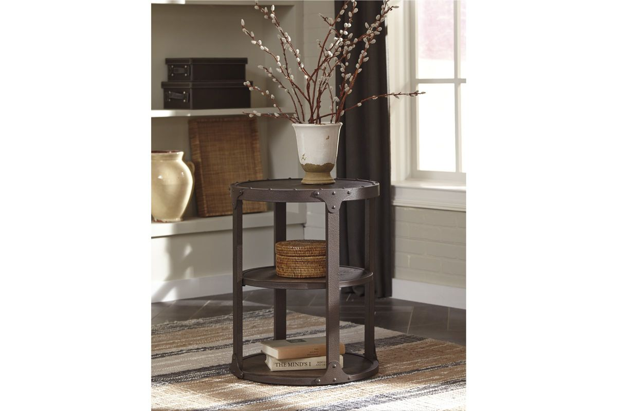 Shofern Round End Table In Rustic Brown By Ashley*FDROP-170629