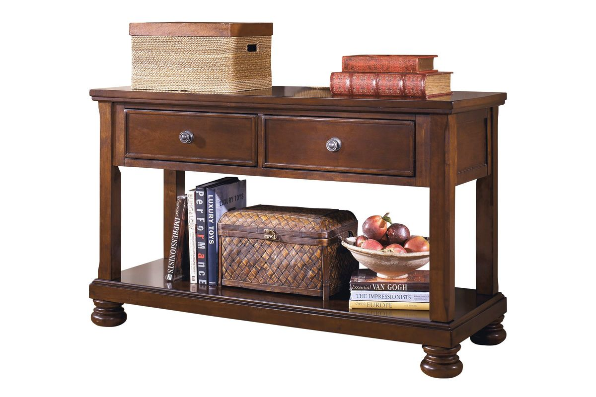 Porter Console Sofa Table In Rustic Brown By Ashley At