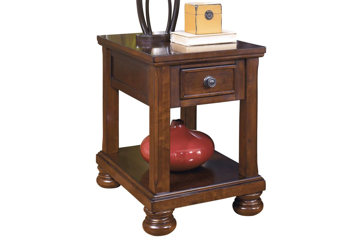 Porter Chair Side End Table in Rustic Brown by Ashley at GardnerWhite