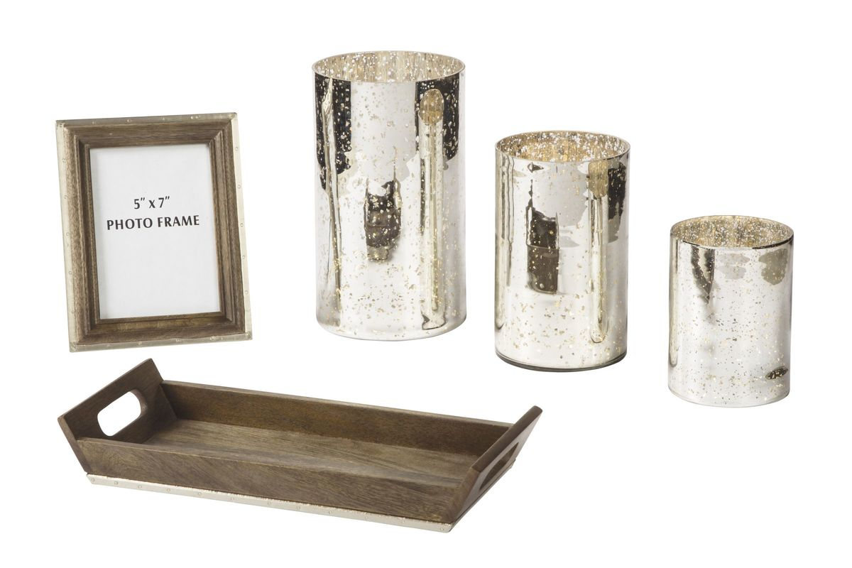 Dexton Accessory Set 5 Pieces in Brown/Silver by Ashley from Gardner-White Furniture