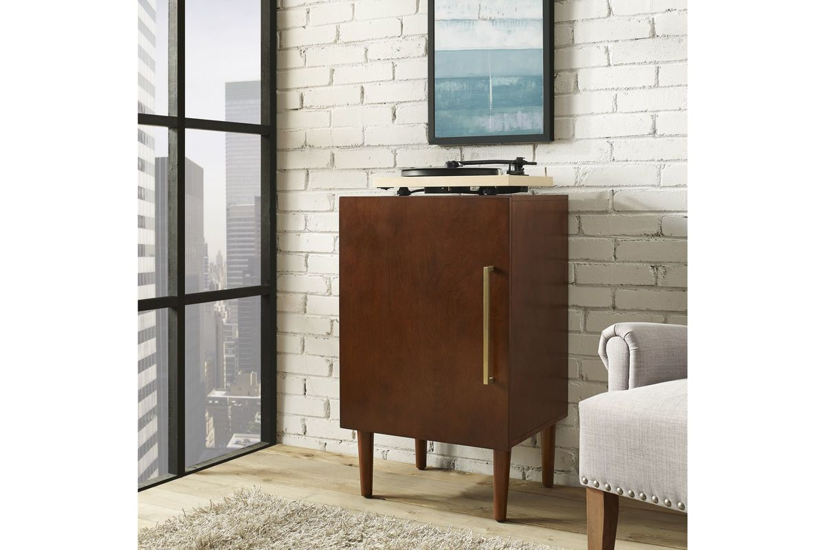 Everett Record Player Stand In Mahogany By Crosley At Gardner White