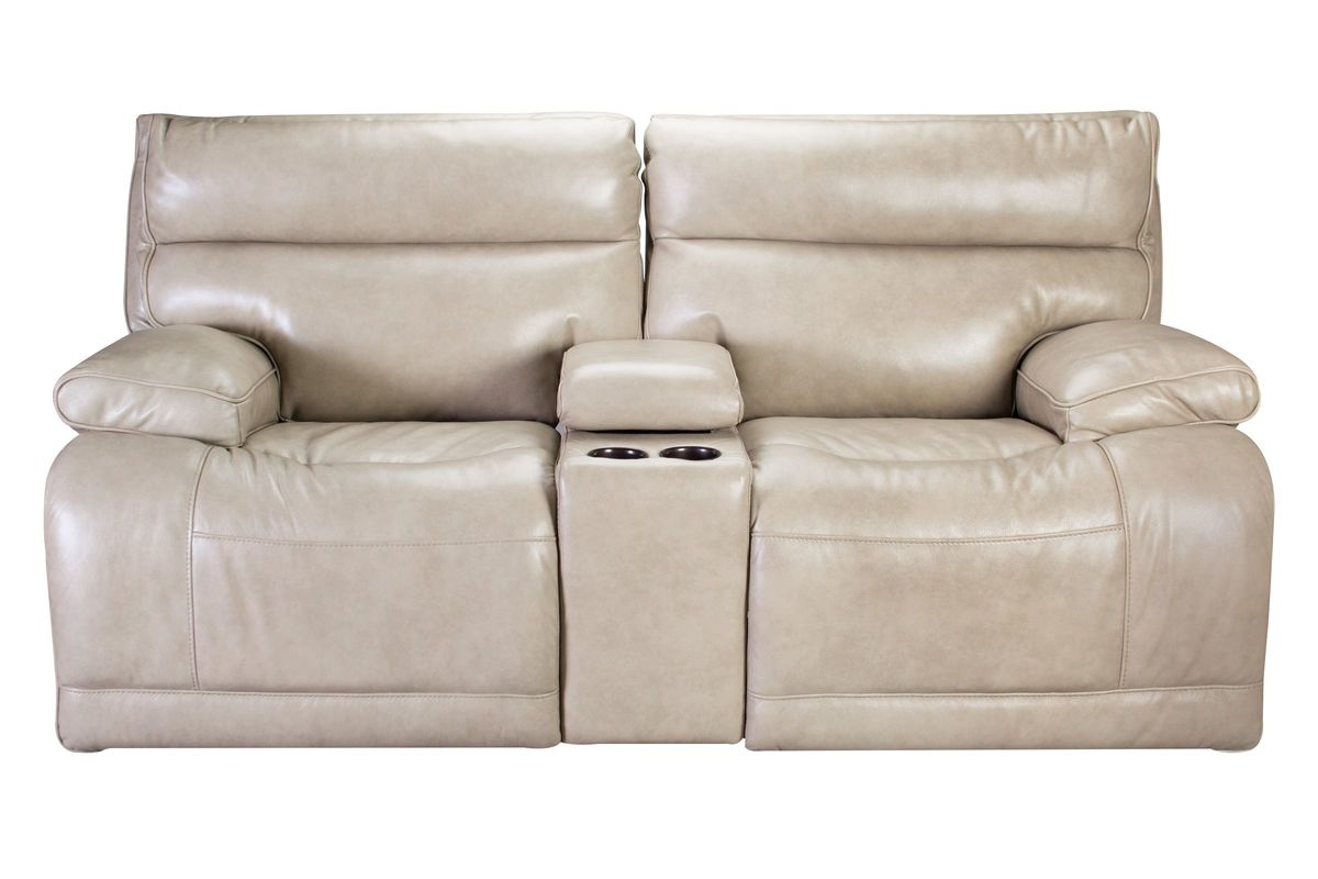 Austin Leather Power Reclining Loveseat With Console At