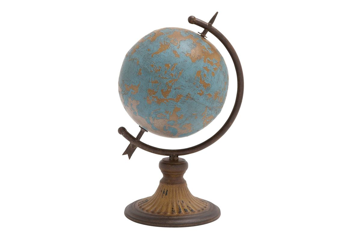Nautical Rustic Distressed Iron Stylized Globe Sculpture in Turquoise from Gardner-White Furniture