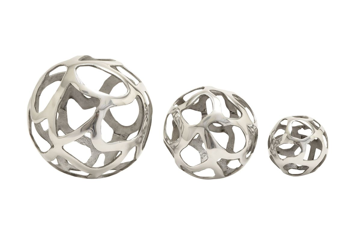 Modern Reflections Aluminum Cut-Out Decorative Balls (Set of 3) from Gardner-White Furniture