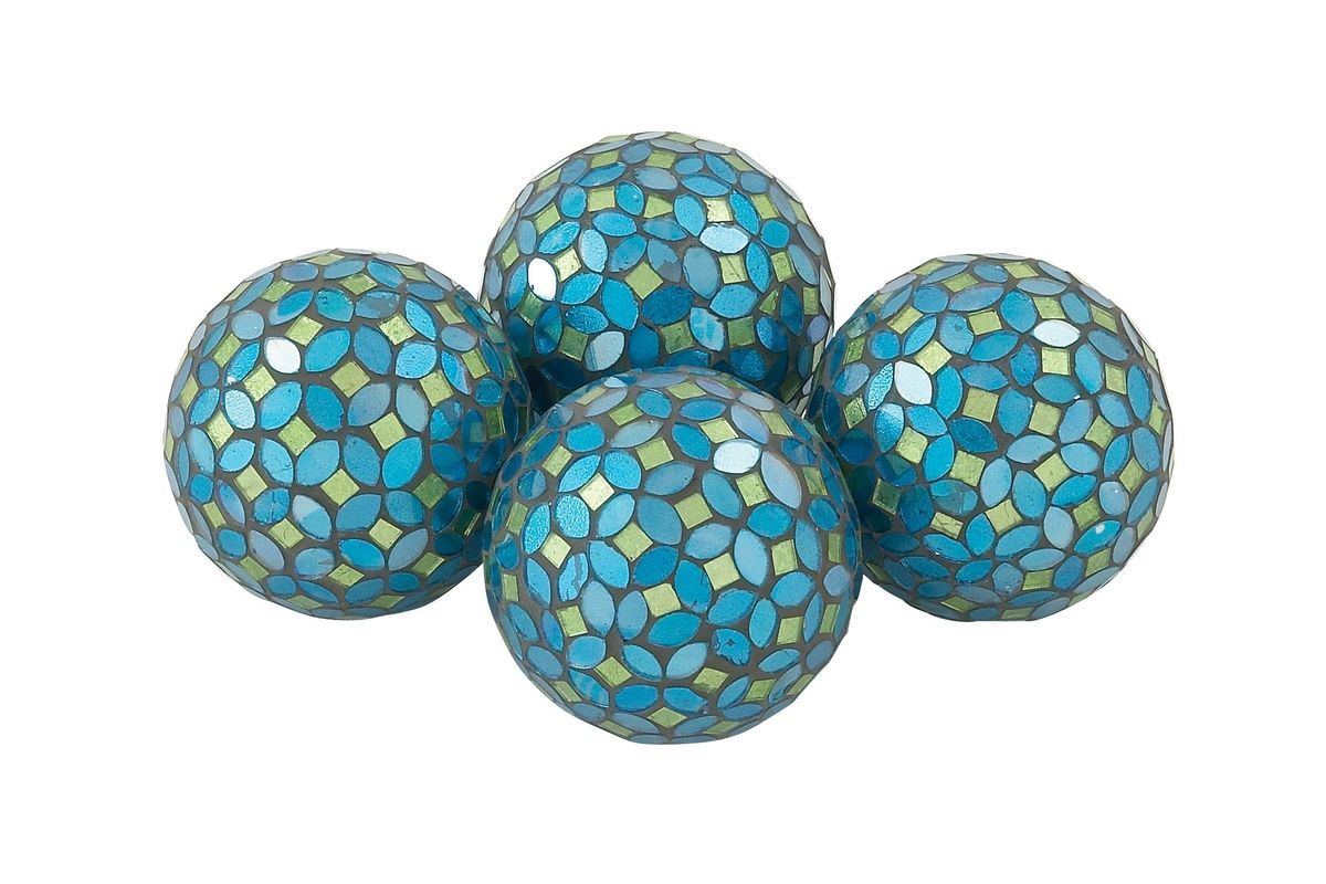 Home And Hearth Decorative Balls In Turquoise Set Of 4