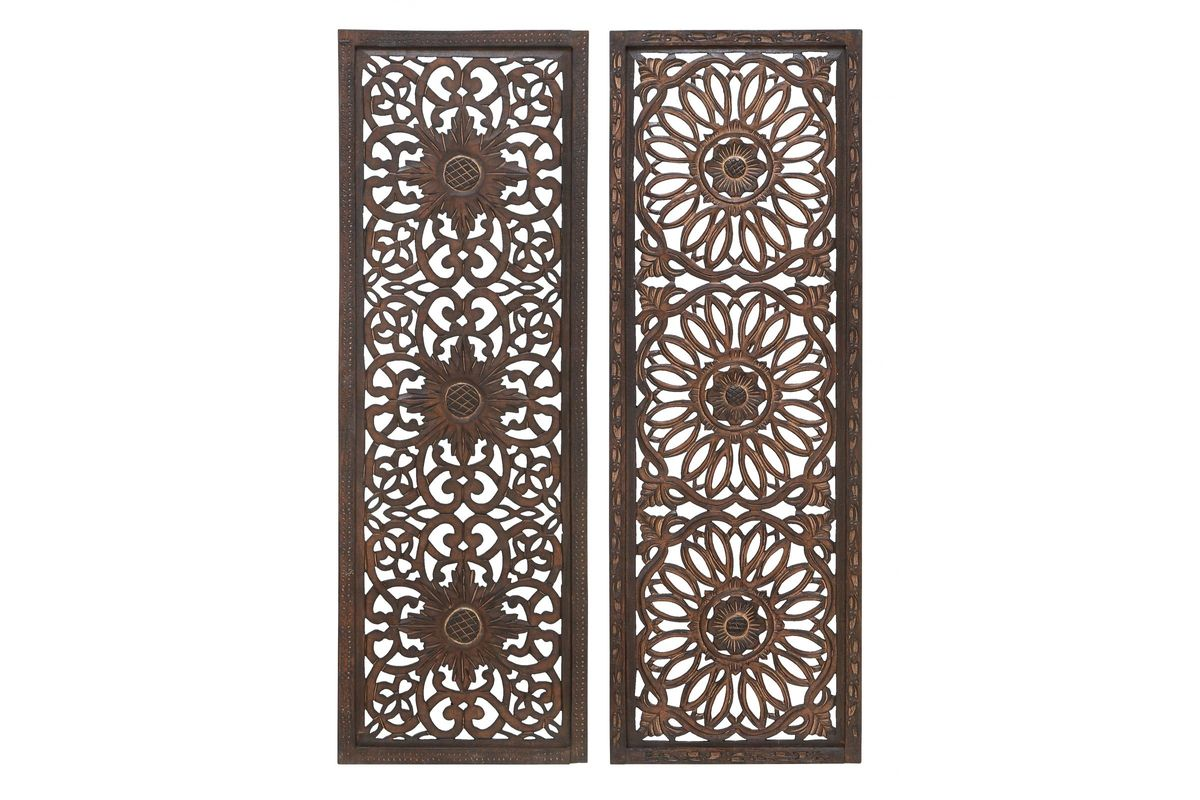 Updated Traditional Large Carved Wall Panels In Espresso Set Of 2