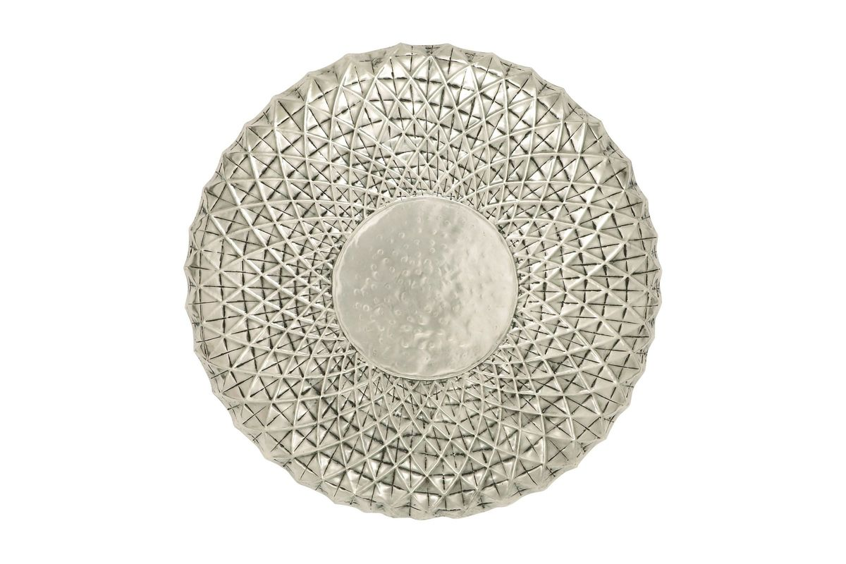 Contemporary Molecular Design Wall Plate in Silver by UMA from Gardner-White Furniture