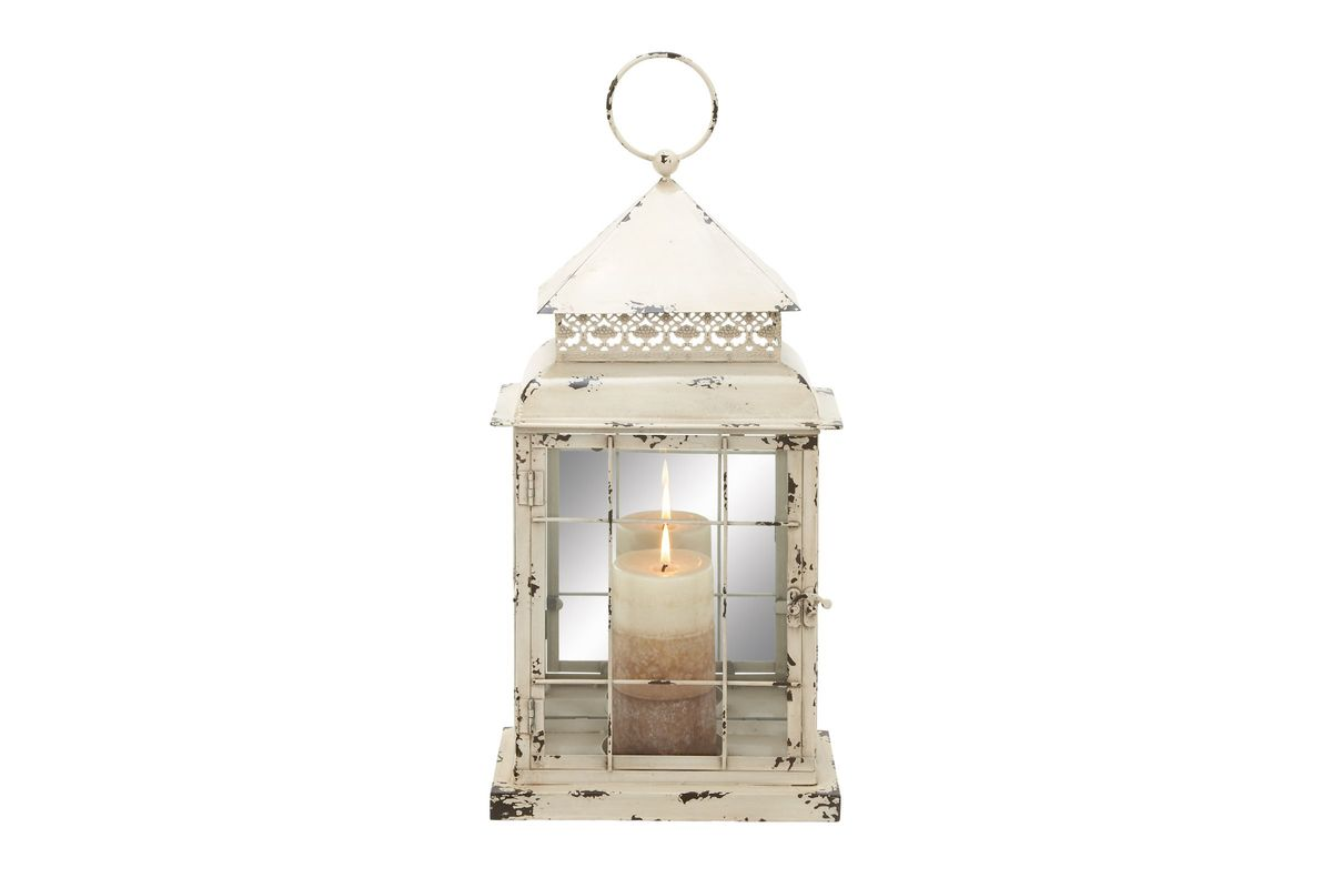 french inspired lighting. French Inspired Distressed White Finish Square Candle Lantern By UMA From Gardner-White Furniture Lighting N