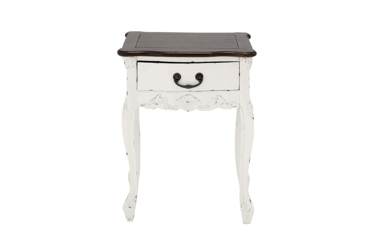 Shabby Chic Accent Table In Antique White