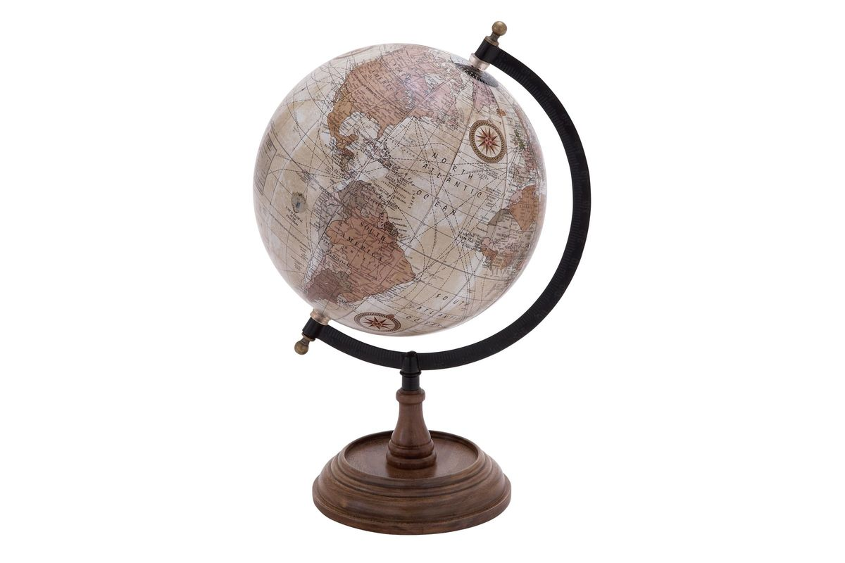 Nautical Rustic World Globe in Cool Sepia from Gardner-White Furniture