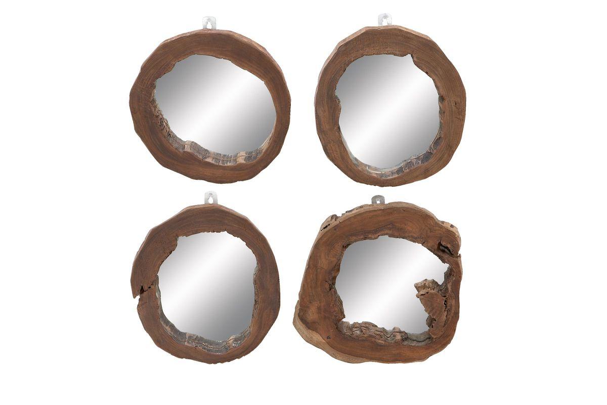 Organic Inspired Teak Wood Burl Wall Mirrors Set Of 4 By Uma