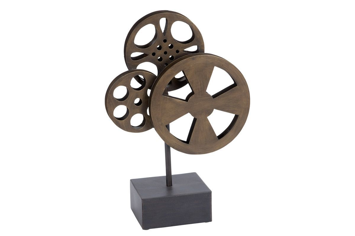 Vintage Reflections Rustic Iron Movie Reels Sculpture from Gardner-White Furniture