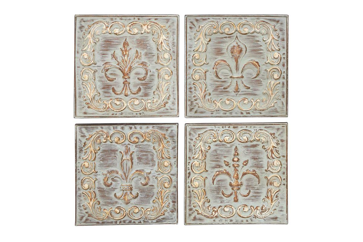 Rustic Elegance Fleur De Lis Wall Plaques Set Of 4 From Gardner