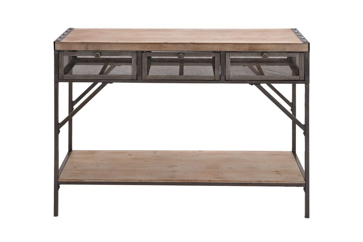 Industrial Inspired Iron U0026 Wood 3 Drawer Console Table By UMA From  Gardner White