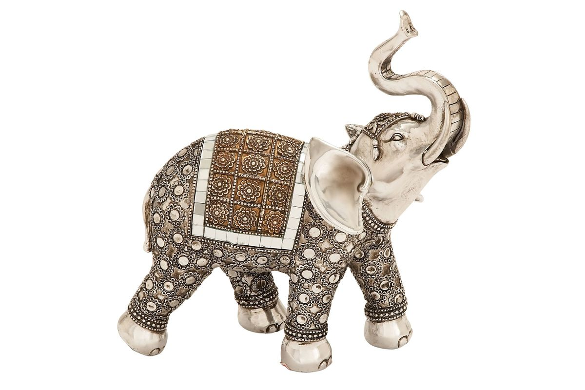 Global Inspired Decorated Elephant Sculpture in Silver & Brown from Gardner-White Furniture