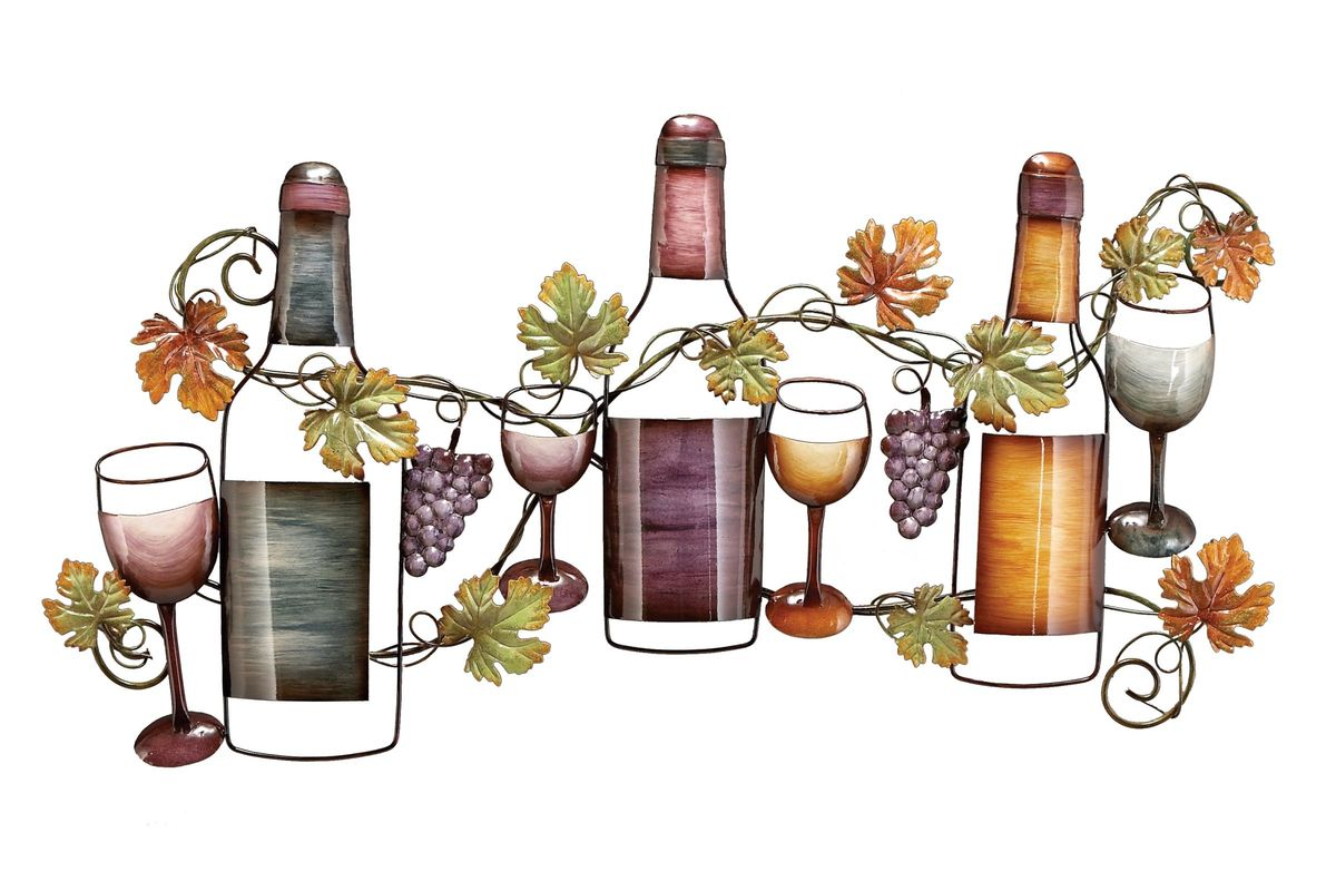Wine Inspired Earth Tone Wine Bottle Wall Sculpture At