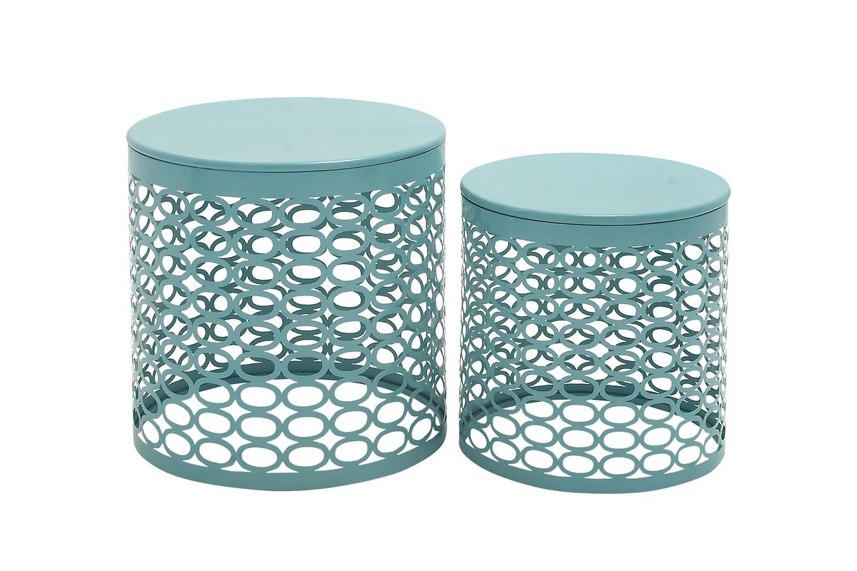 Great Outdoors Round Accent Tables In Turquoise Set Of 2