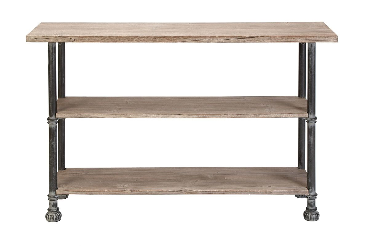 Rustic industrial distressed iron wood console table by uma for Wood and metal console table