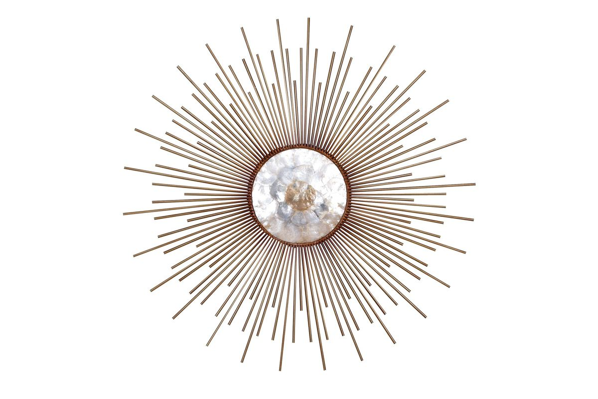 Contemporary Sunburst with Capiz Shell Center Wall Sculpture in Bronze from Gardner-White Furniture