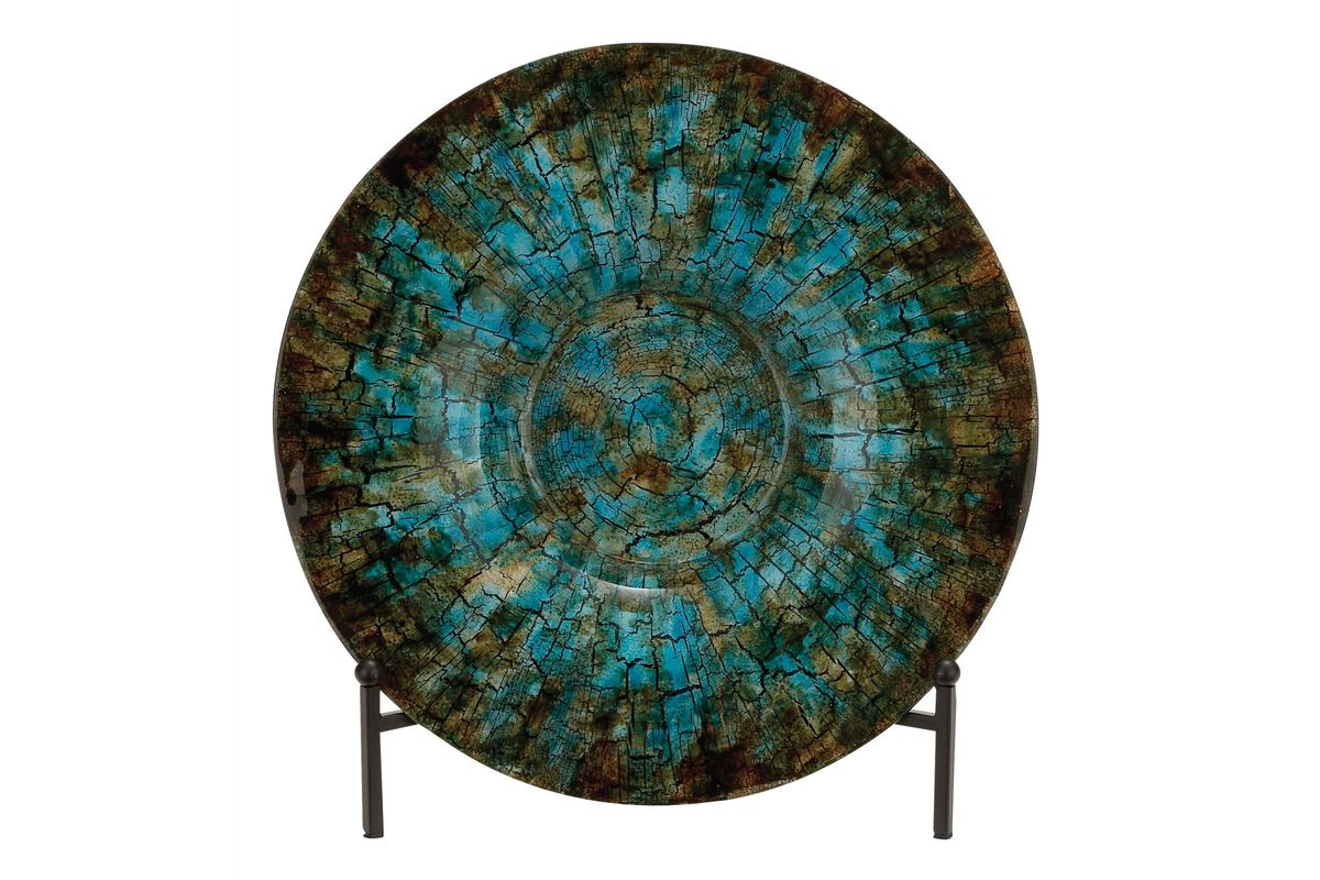 Rustic Elegance Glass Charger Plate In Turquoise Amp Brown