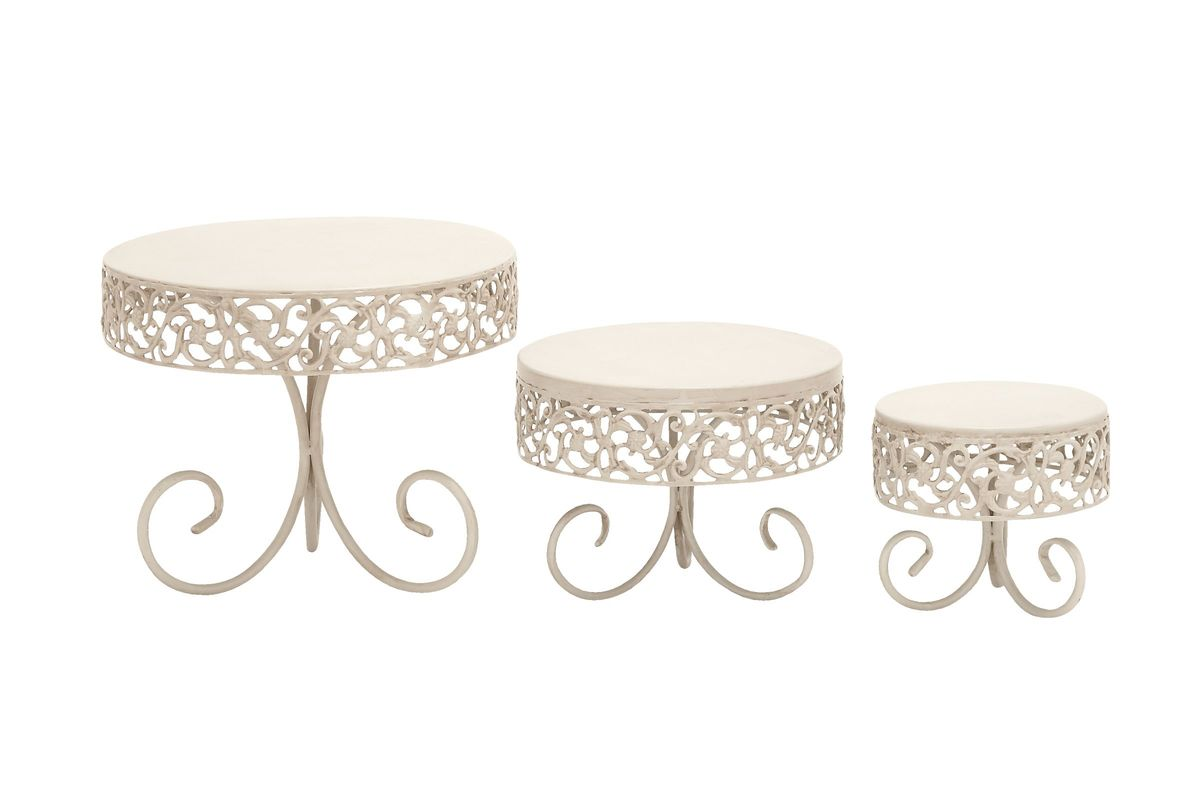 New Traditional Curled Iron Pedestal Cake Stands in Off-White (Set of 3) from Gardner-White Furniture