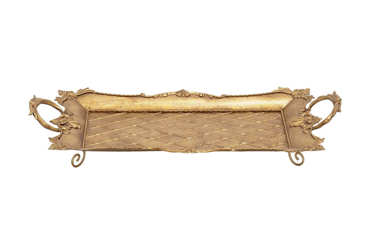 Rustic Elegance Ornate Iron Serving Tray in Tarnished Gold Finish from Gardner-White Furniture