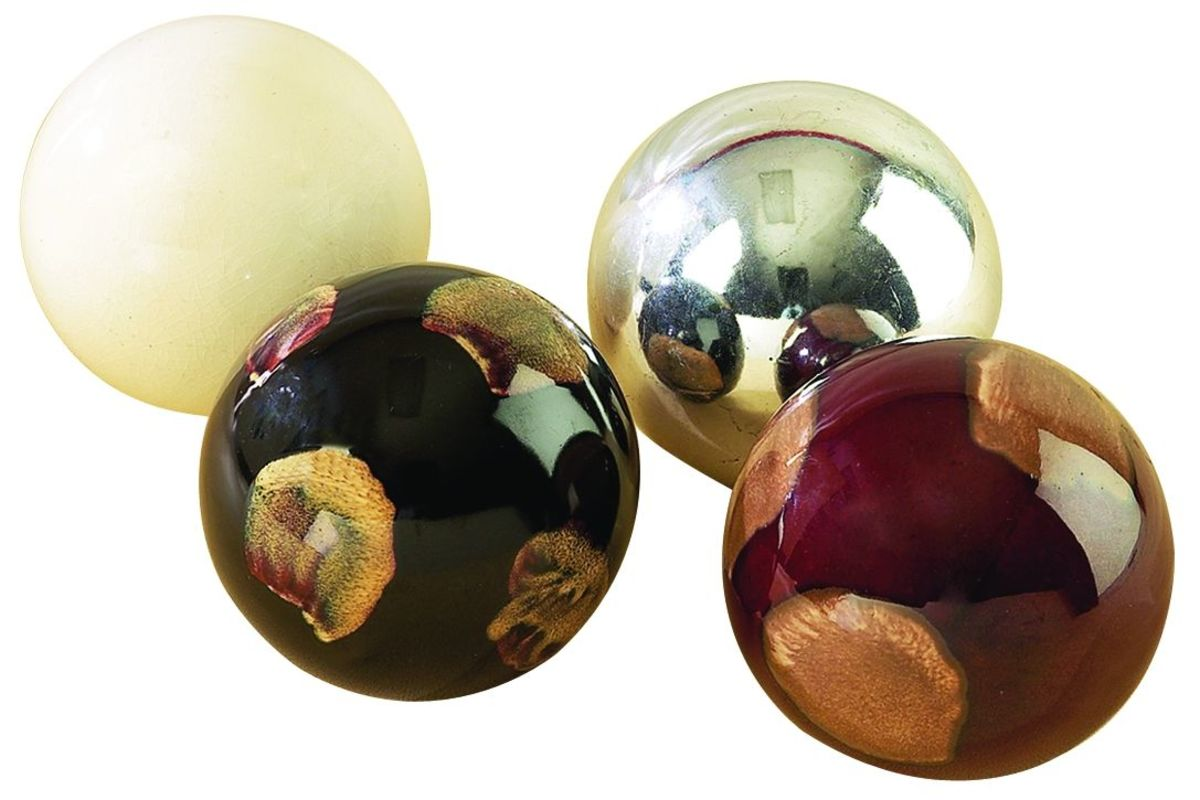Modern Reflections Ceramic 4 Decorative Balls Set Of 4