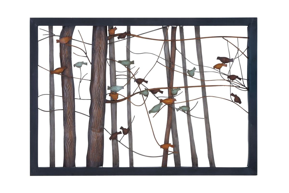 set of 4 square brown metal wall plaques leaf branches scrol