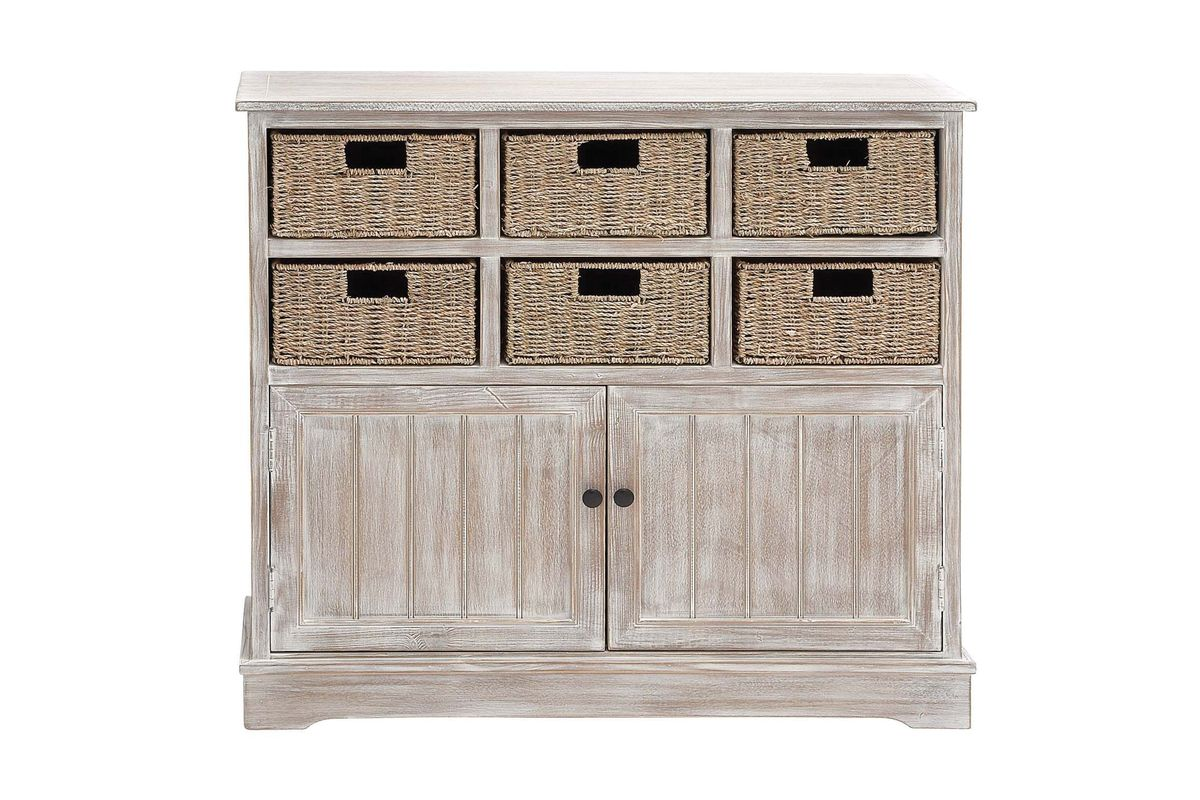 Rustic Country Inspired Storage Cabinet With 6 Wicker Basket Drawers In Distressed Whitewash From Gardner