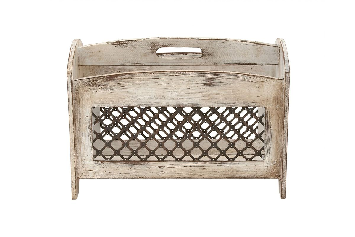 Home And Hearth Rustic Wood Iron Magazine Rack From Gardner White Furniture
