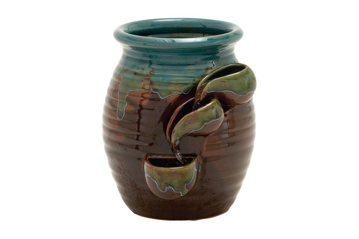 Great Outdoors Rustic Ceramic Water Jug Fountain in Aquamarine & Brown from Gardner-White Furniture