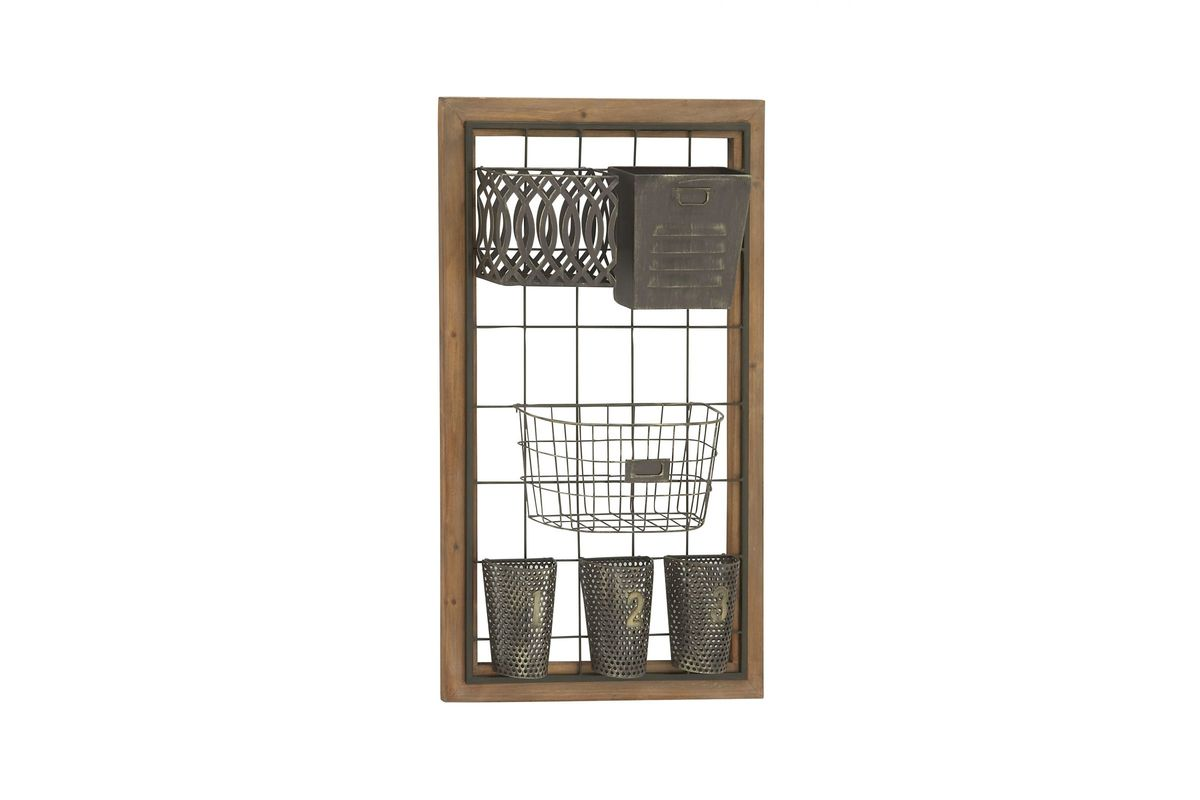 Farmhouse rustic wall storage baskets by uma at gardner white for Gardner storage