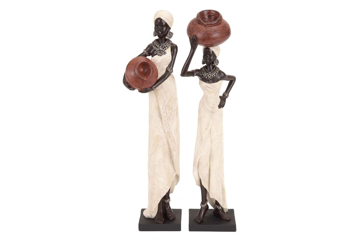 Global Inspired Traditional African Women Sculptures (Set of 2) from Gardner-White Furniture
