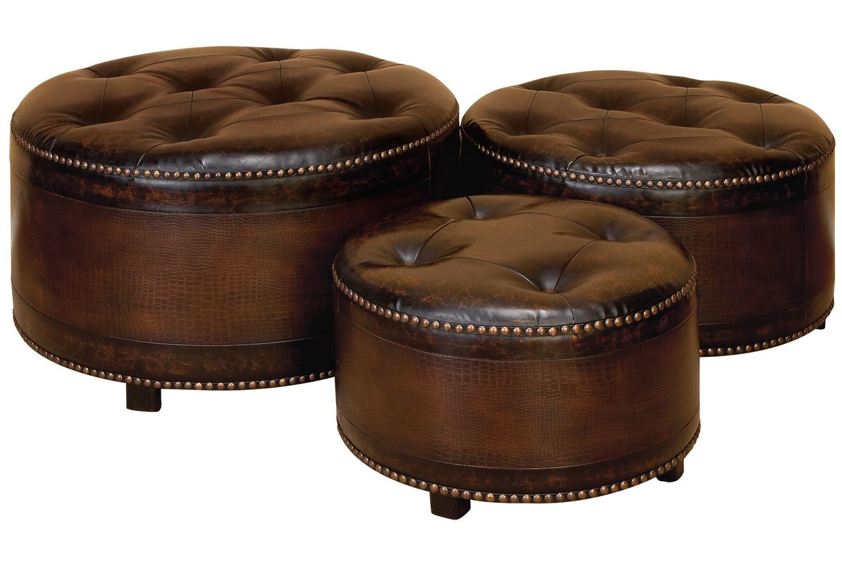 Classic Tufted Leather Round Ottomans Set Of 3 At