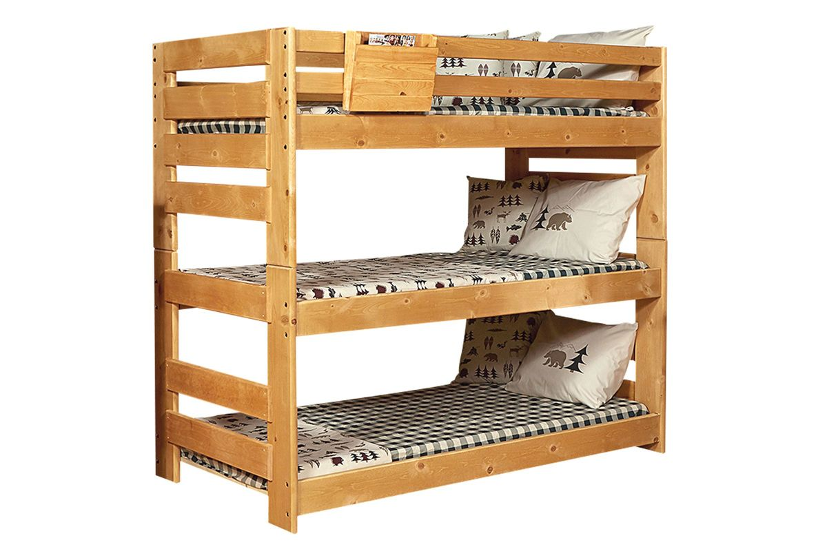 Laguna Caramel Triple Bunk Bed At Gardner White