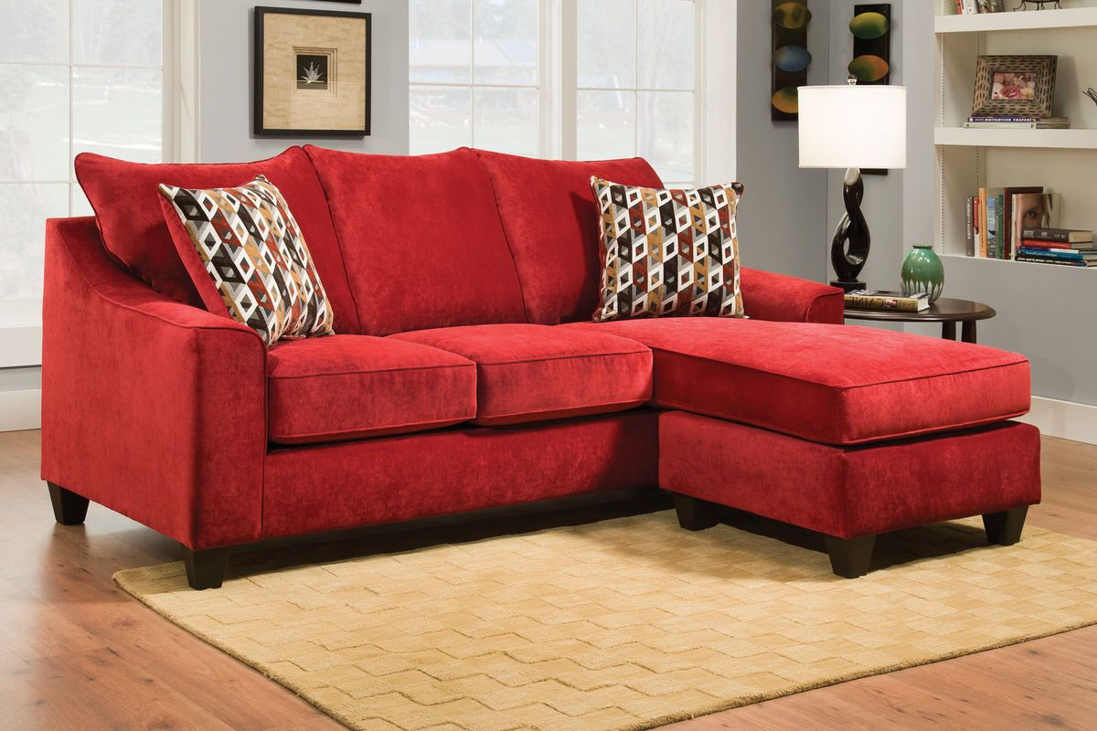 Elizabeth Sofa In Red With Moveable Chaise At Gardner White
